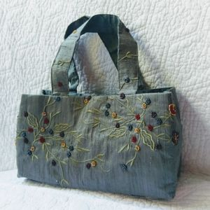 MOYNA Raw Silk Beaded Bag Slate Grey